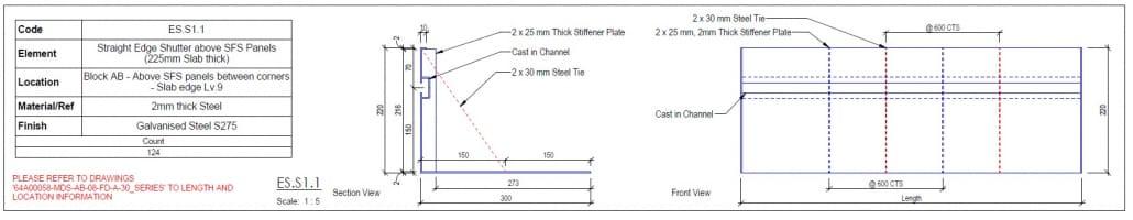 Imagen detalle de plano de fabricación de Edge Shutter